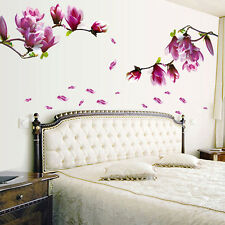 DIY Magnolia Flower Wall Decals Vinyl Sticker Mural Art Living Room Home Decor
