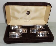 Ari D. Norman Set of 6 Cased Sterling Silver Oval Napkin Rings ~ London 1986