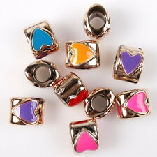 30pcs 152629 Mixed Colorful Enamel Oval Heart Charms Acrylic Beads Fit Bracelet