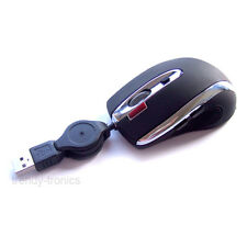 Laser Sensor 7 Button 1600dpi Mini Retractable PC USB Mouse in BLACK