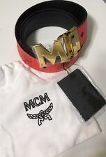 NWT MCM Men's RED MONOGRAMMED/ BLACK REVERSIBLE GOLD BUCKLE BELT CUT TO SIZE