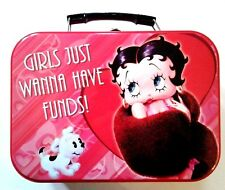 """BETTY BOOP TIN TOTE 'GIRLS JUST WANNA HAVE FUNDS"""" 2009 KING FEATURES SYNDICATE"""