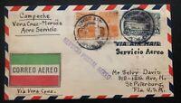 1928 Campeche Mexico Early Airmail Cover To St Petersburg FL USA  Via Veracruz