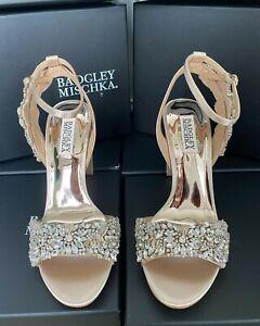 Badgley Mischka Libby Peep Toe Crystal Evening/Wedding Shoes Size 4.5 (UK) Nude