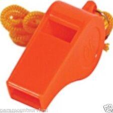 Orange Plastic Whistle & Lanyard Emergency Survival Hiking Camping