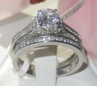 1919 STAINLESS STEEL ENGAGEMENT RING SIMULATED DIAMOND WEDDING BAND SET 2PCS