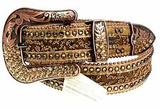BB Simon Fashion Belt Beige Brown Swarovski Crystals Golden Shadow