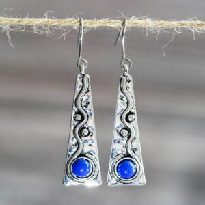 Women's Silver 925 Retro Gifts Handmade Turquoise Earring Jewelry Earrings Ear