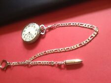 HEAVY DUTY POCKET WATCH CHAIN SILVER PLATED GUN  BULLET FOB POLICE OR HUNTER