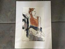 "Original Watercolour, ""Hilary"" charcoal & watercolour - Liz Polunin 2002"
