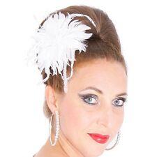 Ansteckblume FEDERN BLÜTE Perlen WEISS Braut Blume Hochzeit Brosche Feder Clip