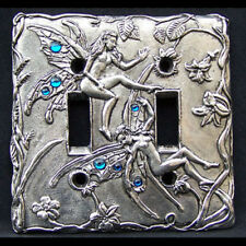 Purple Fairy Pewter Light Switch Plate Double Switch Fellowship Foundry US Made