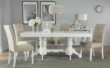 Chatsworth & Regent Extending White Dining Table & 4 6 Chairs Set (Oatmeal)