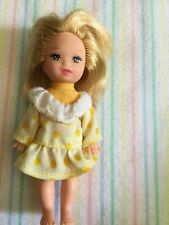Mattel Kelly Barbie Doll 2003 Short Blond Hair in Vintage Yellow Dress Tonal Pol
