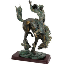 New Bronze BUCKING BRONCO STATUE American Cowboy Country Western Horse Sculpture