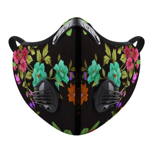 Flowery Black Face Mask Covering for Exercise Sports One Size Small to Medium
