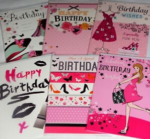 33p LOWEST PRICE! 'CHIC' CARDS x24  FREE POST 4 DESIGNS x6, BIRTHDAY, WRAPPED