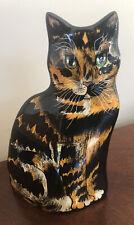 """Cats by Nina Lyman Ceramic Cat Flower Vase 11.5"""" Tabby Tortoiseshell  Green Eyes"""