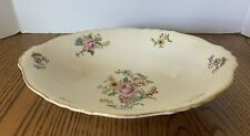 "Syracuse Portland Federal Shape China 10"" Oval Serving Bowl Floral Gold Trim"