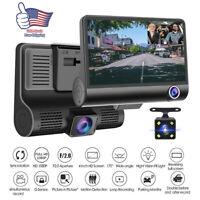 "1080P 4""Car DVR Dual Lens Dash Cam Front + Gsensor Rear Video Recorder Camera US"