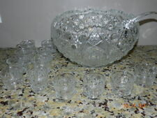 LE Smith Daisy Buttons Punch Bowl, Ladle & 12 Cups