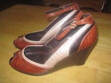 """LIZ & CO LADIES 3.5"""" WEDGE OPEN TOE SHOES-8.5M-WORN ONCE-ANKLE STRAP-VERY CUTE"""
