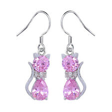 925 Silver Twisted Dangle Drop CZ Cubic Zirconia Crystal Hook Earrings PINK CAT