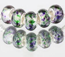 5pcs SILVER MURANO LAMPWORK Beads Fit European Charm Bracelet DIY #B501