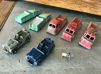 Lot of 7 Vintage 1950s TootsieToys Firetrucks MidgeToy Army Jeep Green Car