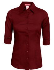 Women's 34 Color Basic Tailored 3/4 Sleeve Button Down Shirt -NEWT05  SIZE S-6XL