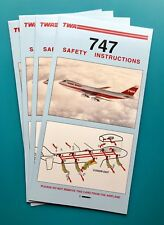 4 TWA SAFETY CARDS—747s