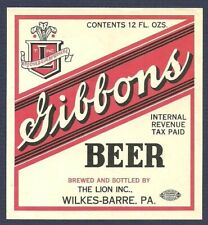 Gibbons Beer Label, IRTP, The Lion Inc., Wilkes-Barre, PA