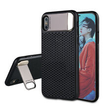 For iPhone X Case, Hard Case PC Back with Metal Plate Stand Cover Case For Apple