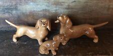 Vtg Dachshund Dog Set Lot 3 Miniature Figurine Family Tan