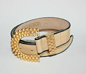 Carlisle Snake Textured Leather Belt w Karen Callan Statement Buckle Sz M 1627