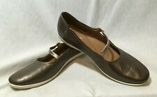 EUC CLARKS HELINA PEWTER LEATHER WOMENS SIZE 11 N MARY JANES STRAP COMFORT SHOES