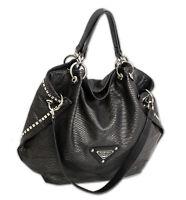 Damen Handtasche schwarz groß mit Nieten Schultertasche Umhängetasche hochwertig