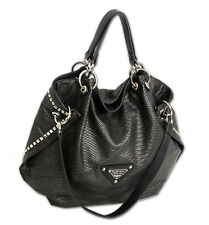 Damen Handtasche Nieten große Schultertasche schwarze Umhängetasche Hobo Bag