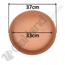 20 x 37cm Plant Pot Saucer Drip Tray Terracotta Plastic Deep High Sided Strong
