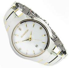 Luxus Tungsten Wolfram Herren Armband Uhr Datum Zirkonia Diamant Gold Wt Germany