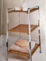 New Modern Bamboo & Chrome 3 Tier Shelf Bathroom Storage Unit