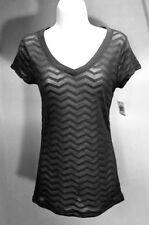NWT JENNI BY JENNIFER MOORE Black Geometric Short Sleeve V-Neck T-Shirt Top Sz L