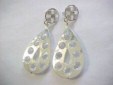 "Fashionable clip on earrings, silver plate, 2-1/2"" long with 16 czs.  3cttw."