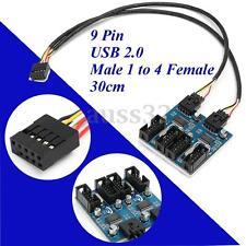 9 Pin USB Header Male 1 to 4 Female Extender Cable USB2.0 Port Multiplier HUB