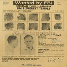 Wanted Notice - Finis Everett Temple - Burglary - Texas - 1959
