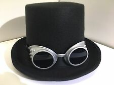 New Top Hat Black or brown with Steampunk Goggles adult size fancy dresss