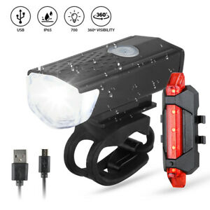 Bike Bicycle Light USB LED Rechargeable Set Mountain Cycle Front Back Headlight