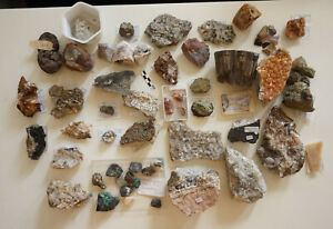 Mineraliensammlung Konvolut #7 - Calcit, Baryt, Pyrit, Olivin, ...