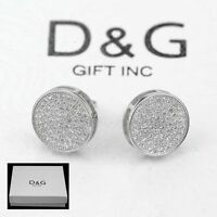 DG Men's Sterling Silver 925.CZ Iced Out 9mm,Round Screw-back*Earring Unisex-Box