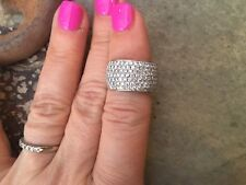 14 KT Yellow & White Gold Pave Diamond Cigar Band Design Wide Ring ESTATE 2 CT